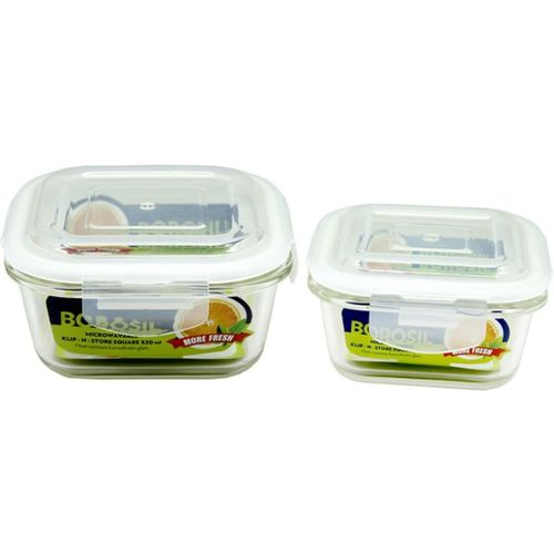 Borosil Microwavable Klip - N - Store Square Dish With Lid - 320 ml, 520 ml Glass Grocery Container(Pack of 2, Clear)