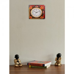 eCraftIndia White Dial Brown & Red Printed 30.48cmx1.27cm Handcrafted Wall Clock