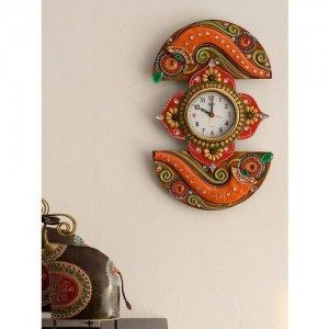 8c9131af9 eCraftIndia White Dial Embossed 38.1 cm x 22.86 cm Handcrafted Analogue  Wall Clock