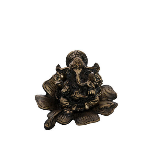 eCraftIndia Metal Lord Ganesha on Flower Showpiece