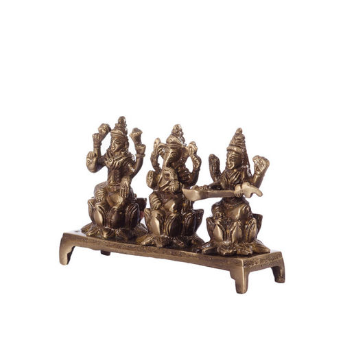 eCraftIndia Gold-Toned Handcrafted Antique Finish Brass Laxmi Ganesha Saraswati on Lotus Base
