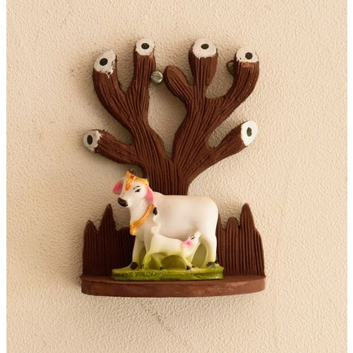 eCraftIndia Cow and Calf Under Tree Figurine Decorative Showpiece - 13 cm(Polyresin, Wooden, Brown, White, Green)