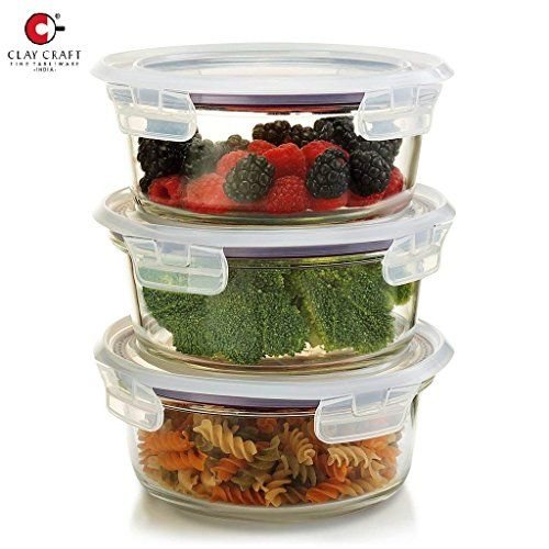 Clay Craft Borosilicate Multipurpose Glass Round Kitchen Food Storage Container Lunch Box with Air Vent Lid- Set of 3 (400, 620, 950 ml)