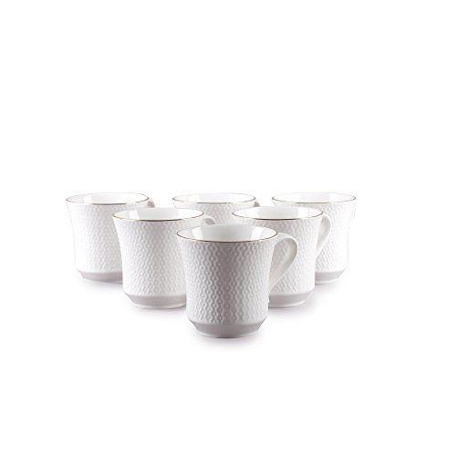 Clay Craft White Indigo Impression Bone China Coffee Mug Set, 6-Pieces