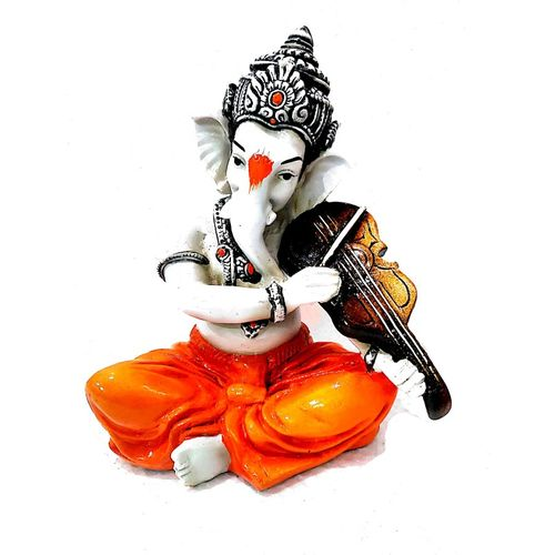 eCraftIndia Lord Ganesha playing Violin Decorative Showpiece - 20 cm(Polyresin)