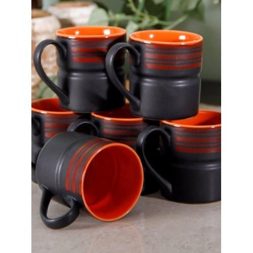 Unravel India Black & Orange 6-Pieces Solid Stoneware Cups Set