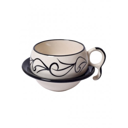 Unravel India Off-White & Black Set of 6 Printed Cups and Saucers Set