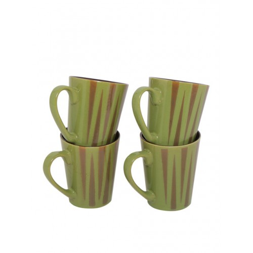 GOODHOMES Green Set of 4 Printed Stoneware Cups
