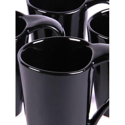 VarEesha Set of 6 Black Solid Ceramic Handcrafted Coffee Mugs