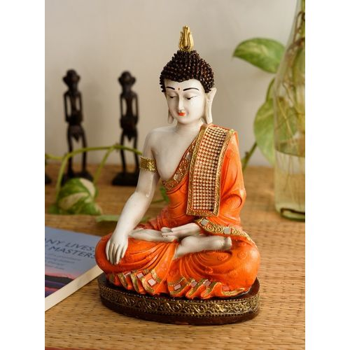 eCraftIndia Meditating Buddha Decorative Showpiece - 30.48 cm(Microfibre, Orange)