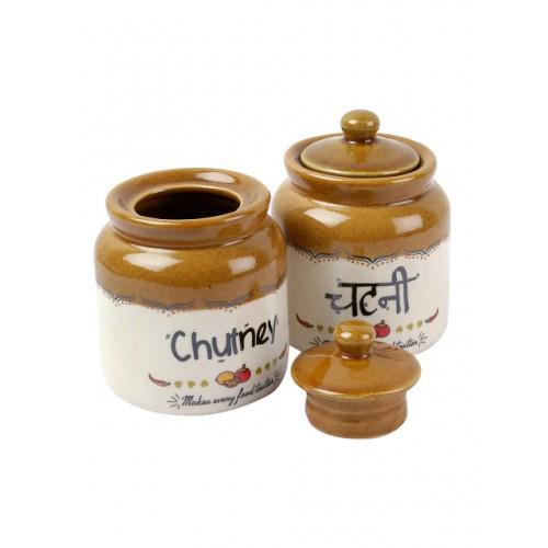 EK DO Dhai Set Of 2 Off-White & Brown Chutney Jars