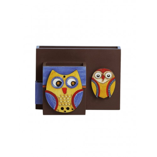 ExclusiveLane Brown & Blue Owl-Shaped Handcrafted Cutlery Napkin & Toothpick Holder