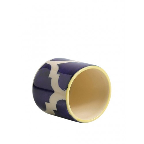 ExclusiveLane White & Blue Set of 2 Hand-Painted Ceramic Toothpick Holders