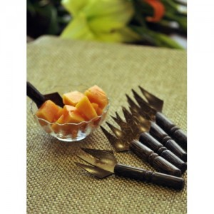 ExclusiveLane Brown Wooden Fruit Fork  (Set of 6 )