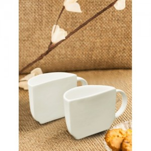 ExclusiveLane White Handcrafted Solid Unique Half Ceramic Cups (Set of 2 )