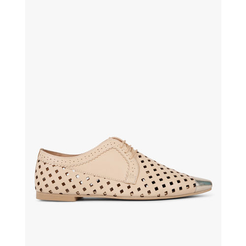 AJIO Pointed-Toe Oxfords with Laser Cutouts