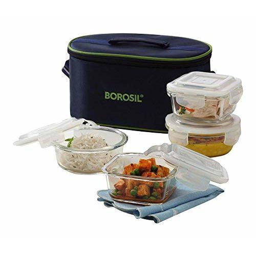 Borosil Universal Microwavabe Glass Lunch Box,Medium Ivory