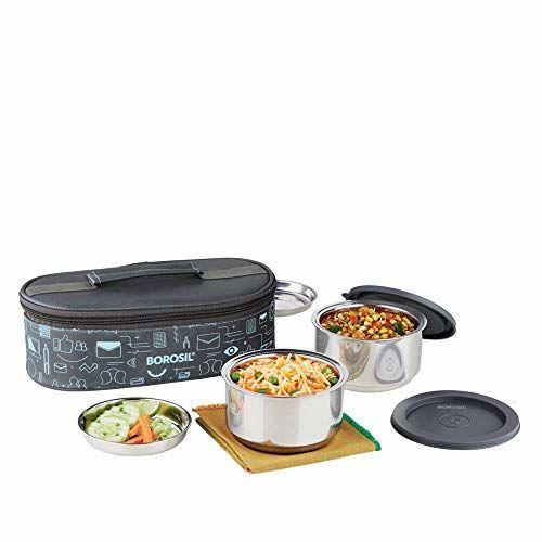 Borosil Aadvay Enterprises Carry Fresh Stainless Steel Insulated Lunch Box Set, 280ml, Set of 2, Blue