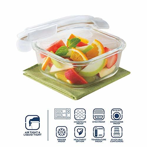 Borosil Transparent Keep & Store Square Containers with Lid (320ml)