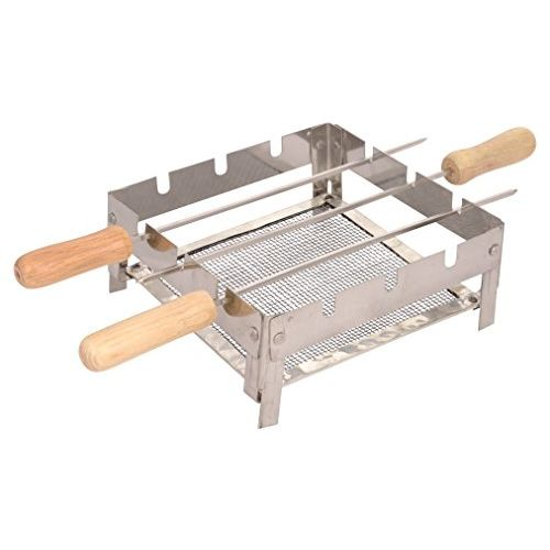 Milestouch Set Of Mini Chota, Portable Compact Barbeque Grill / Tandoor and 3 Skewers 12 Inch (Rods) Coal / Gas