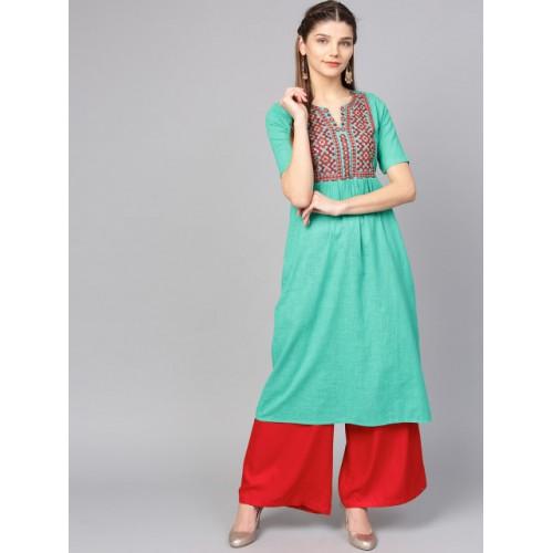 Jaipur Kurti Green Cotton  Yoke Design A-Line Kurta