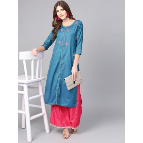 Jaipur Kurti Teal Blue Cotton Solid Straight Kurta