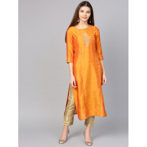 Jaipur Kurti Orange Slik Yoke Design Straight Kurta