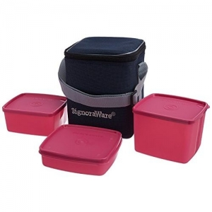 Signoraware Pink Plastic Director Special Medium Lunch Box with Bag