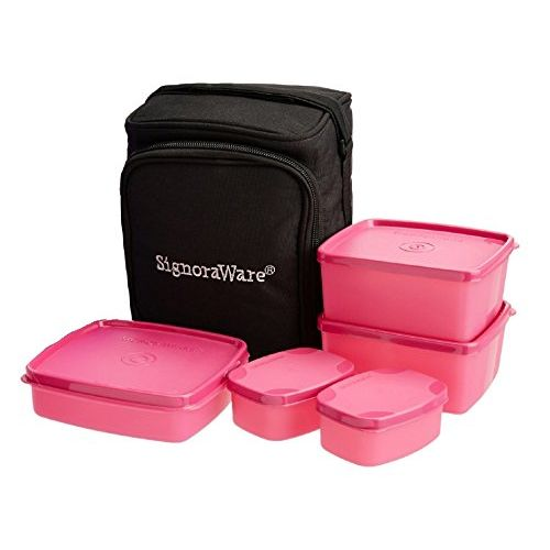 Signoraware Trendy Lunch Box with Bag Set, 5-Pieces, Pink