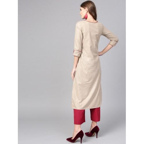 Jaipur Kurti Beige Viscose Rayon Yoke Design Straight Kurta