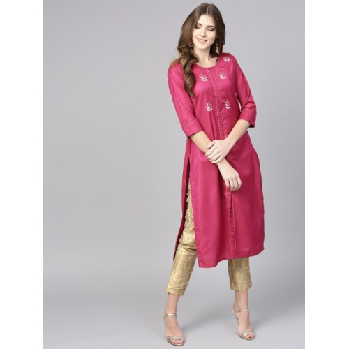 Jaipur Kurti Pink Cotton Solid Straight Kurta with Embroidered Detail