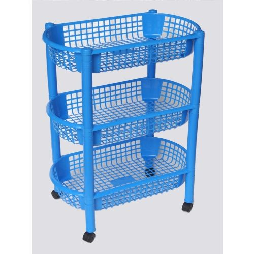Princeware Oasis Plastic Kitchen Rack Trolley, 3-Pieces, Assorted