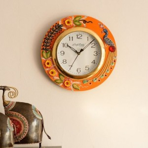 eCraftIndia Embossed Peacock and Flowers Handcrafted Wooden and Papier-Mache Wall Clock (30 cm x 2.5 cm x 30 cm)