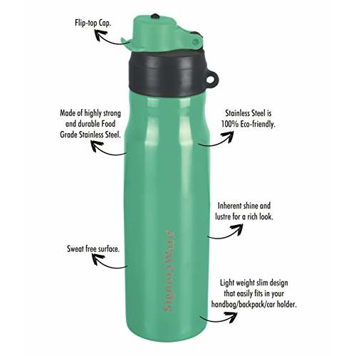Signoraware Spark Stainless Steel Water Bottle, 750ml, Green