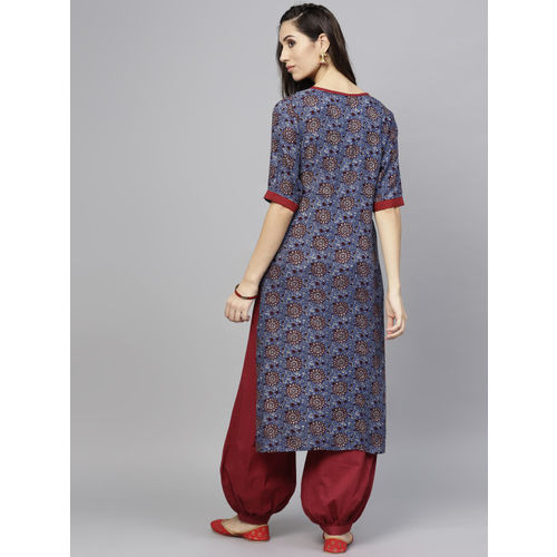 AKS Women Blue & Maroon Printed Straight Kurta