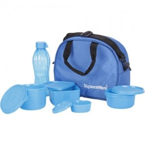 Signoraware Blue Plastic 5 Containers Lunch Box (1830 Ml)