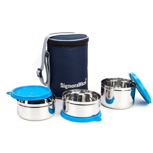 Signoraware Executive Stainless Steel Lunch Box Set, Set of 3 3 Containers Lunch Box