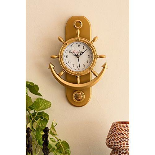 eCraftIndia Retro Decorative Anchor Plastic Pendulum Wall Clock (32 cm x 3 cm x 40 cm, Gold)