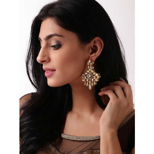 Melani Borsa White 18k Gold-Plated Handcrafted Kundan Stone-Studded Drop Earrings