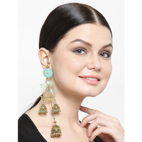DIVA WALK Gold-Toned Contemporary Jhumkas