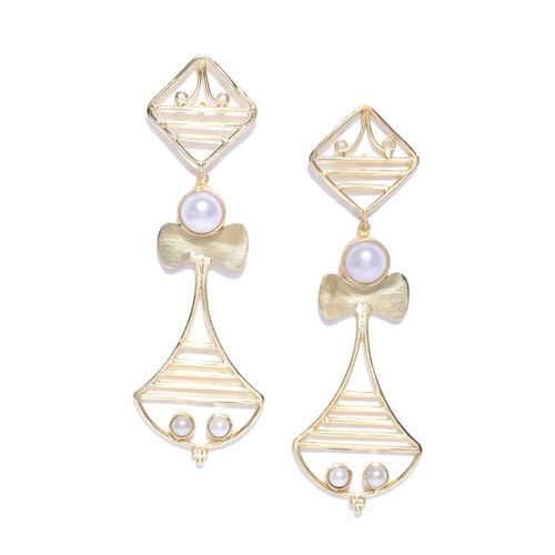 pearlete White Gold-Plated Handcrafted Contemporary Drop Earrings