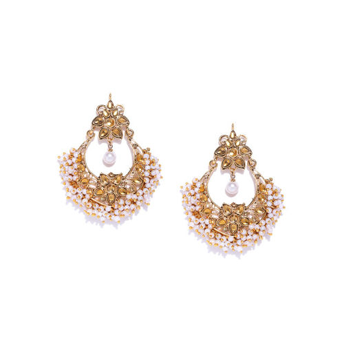 Zaveri Pearls Off-White Gold-Plated Crescent Shaped Chandbalis