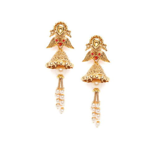 PANASH Gold-Toned & Red Gold-Plated & Handcrafted Contemporary Jhumkas