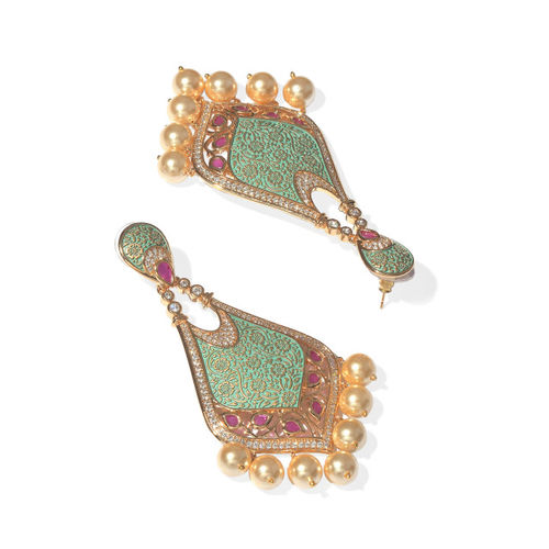 Tistabene Green Gold-Plated Floral Drop Earrings