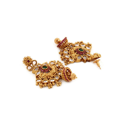 Rubans Gold-Toned & Red Gold-Plated Classic Chandbalis