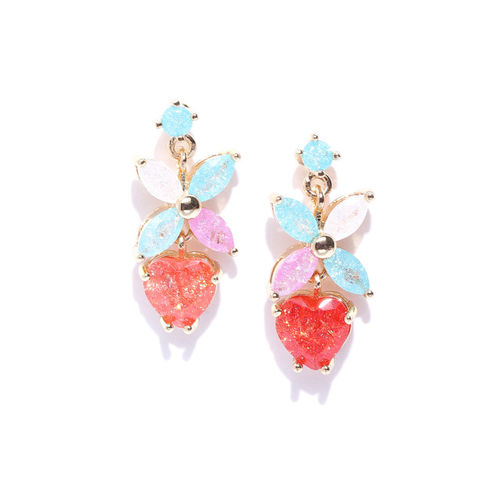 PRITA Multicoloured Gold-Plated Stone-Studded Floral Handcrafted Drop Earrings