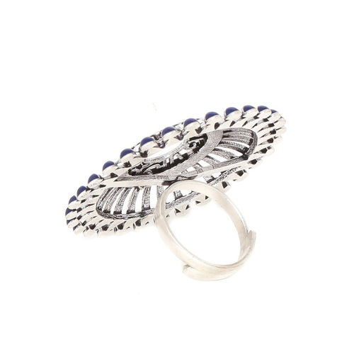 Studio Voylla Women Silver-Toned and Blue Rhodium-Plated Oxidised Finger Ring