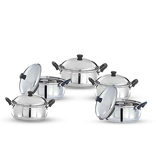 Pigeon Kitchen Star Stainless Steel Cook and Serve Handi Set (5-Pieces, Silver)