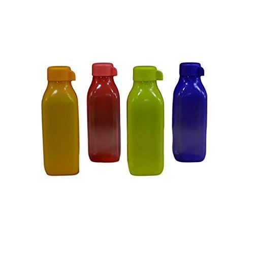 Tupperware Aqua Safe Square Frosty Plastic Water Bottle Set, 500ml, Set of 4, Multicolour