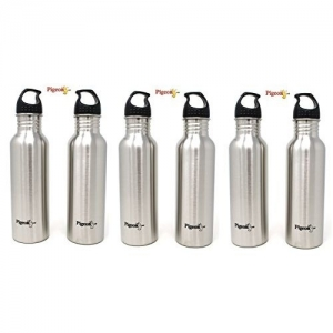 Pigeon Silver Stainless Steel Water Bottle Set, 750ml, Set of 6